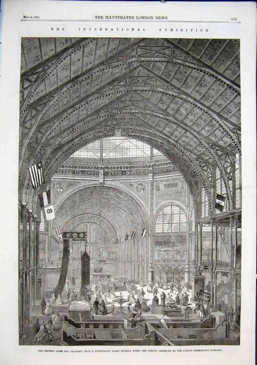 Print West Dome International Exhibition 1862 39Aaaa0 Old Original