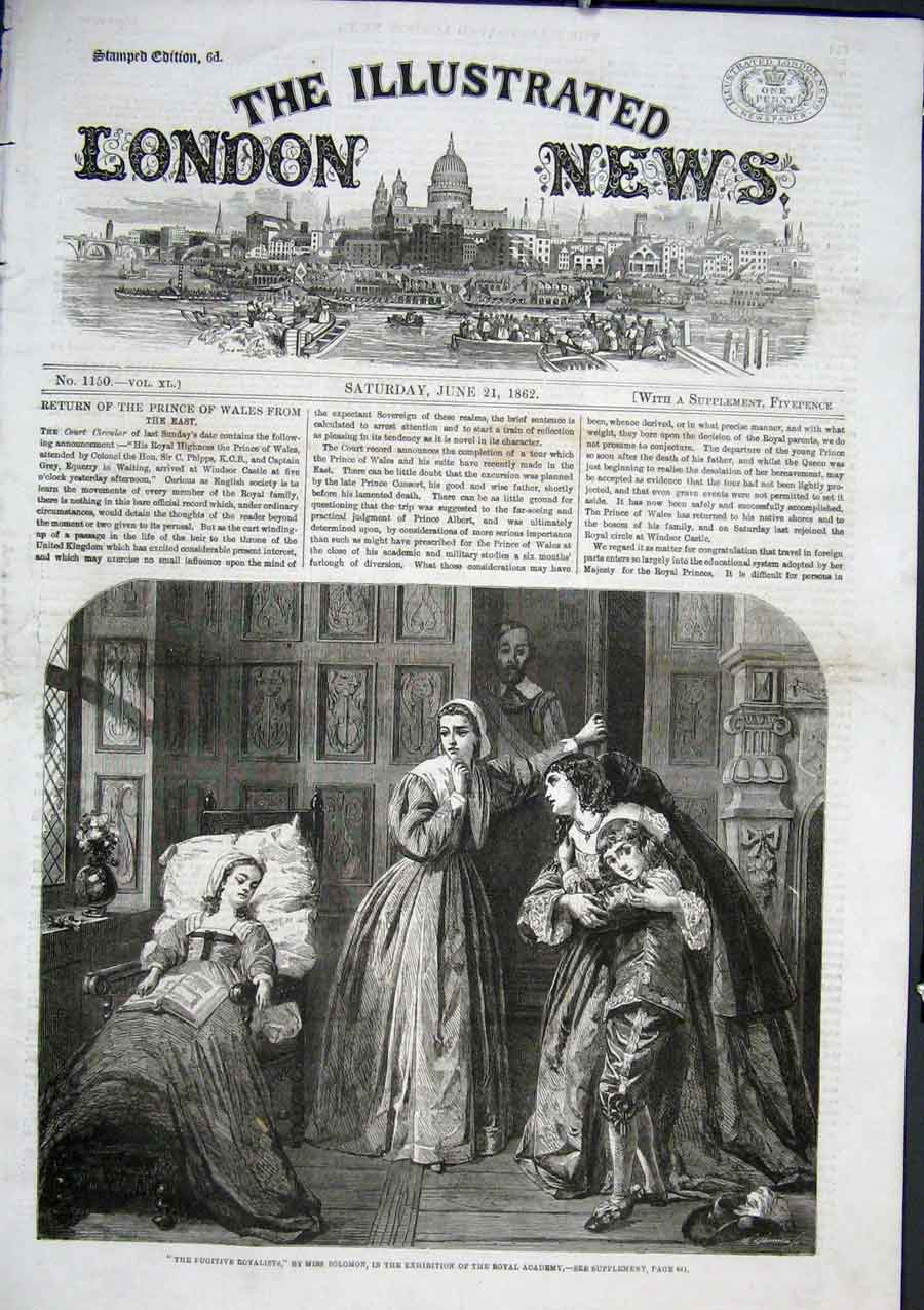 Print Fugitive Royalists By Miss Solomon 1862 24Aaa0 Old Original