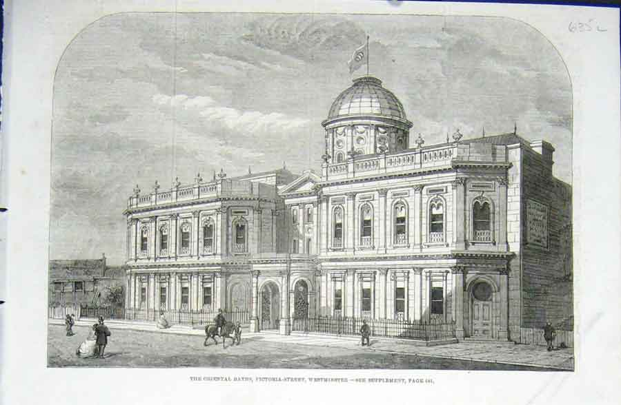 [Print Oriental Baths Victoria St Westminister 1862 London 35Laaa0 Old Original]
