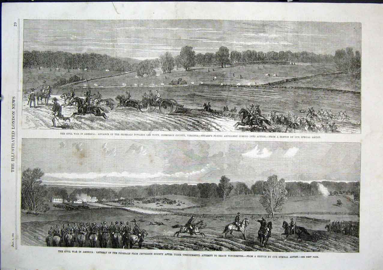 Print Civil War America Federals In Jefferson County Virginia 29Aaa0 Old Original
