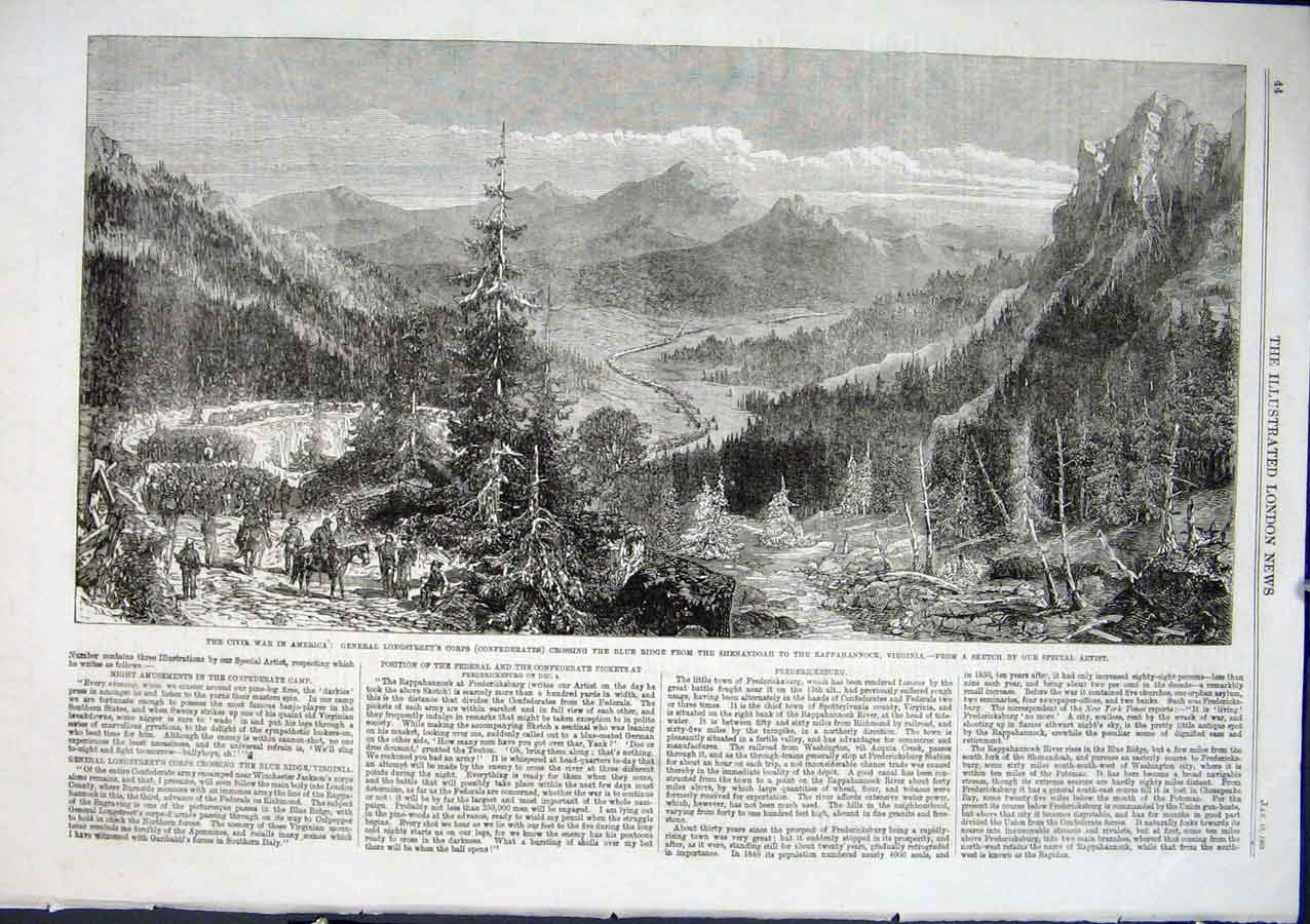 Print Gen Longstreet Crossing Blue Ridge Virginia Civil War 1 44Aaa0 Old Original
