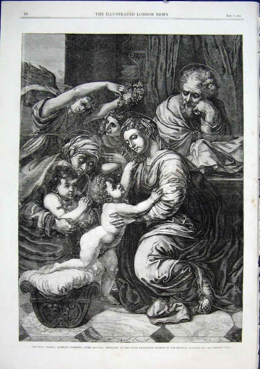 Print Holy Family Gobelins Tapestry After Raphael 1863 78Aaa0 Old Original