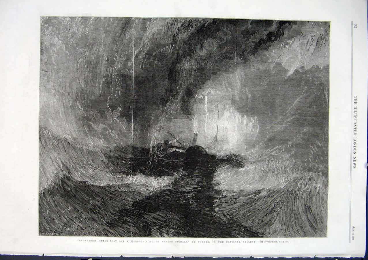 Print Steam Boat Snowstorm By Turner 1863 Ships 92Aaa0 Old Original