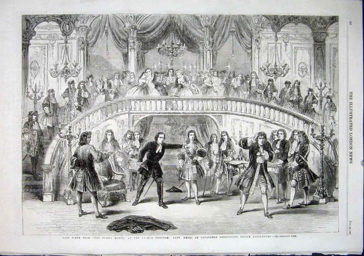 Print Last Scene From Duke'S Motto Lyceum Theatre 1863 London 96Aaa0 Old Original