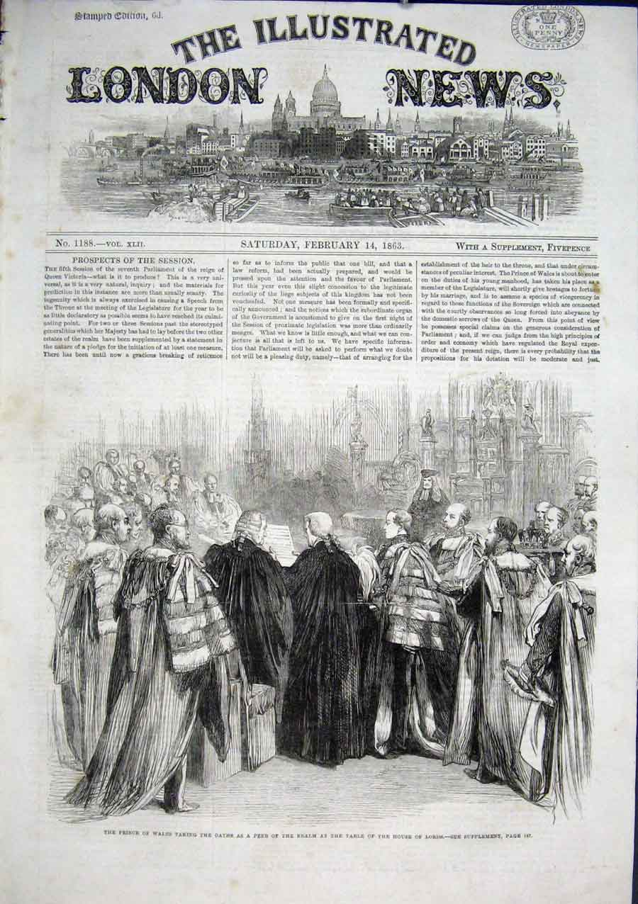 Print Prince Wales Takes Oath As Peer House Lords 1863 66Aaa0 Old Original
