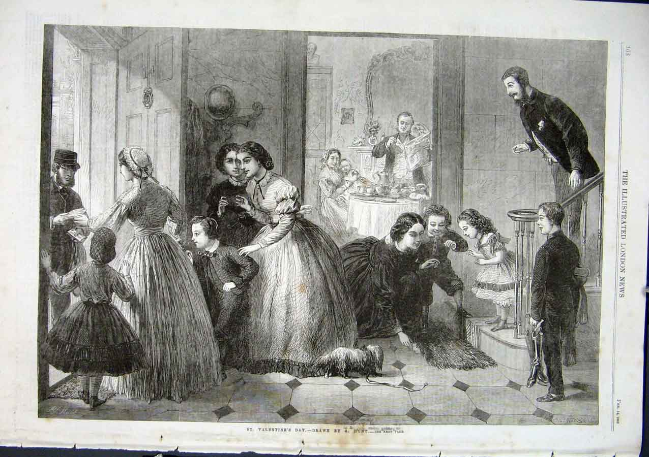 Print St Valentines Day By Hunt 1863 Fine Art 68Aaa0 Old Original