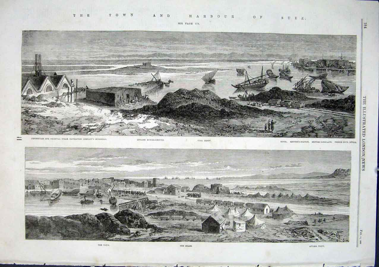 Print Town & Harbour Suez Canal 1863 84Aaa0 Old Original