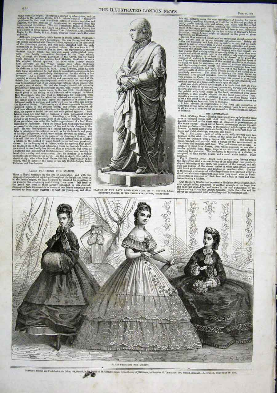 Print Statue Lord Cockburn Paris Fashions March 1863 36Aaa0 Old Original
