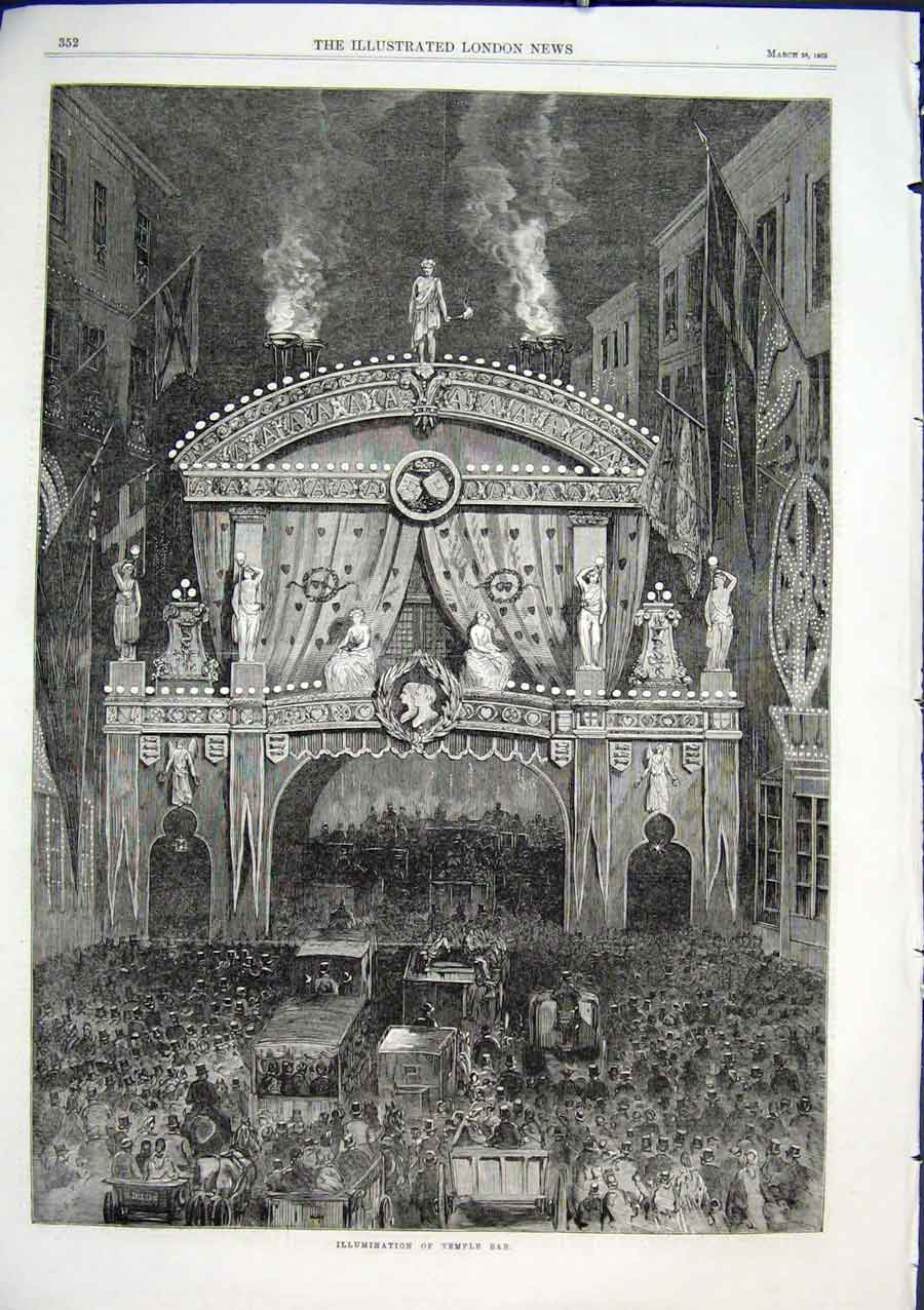 Print Illumination Temple Bar 1863 Royal Weddin 52Aaa0 Old Original
