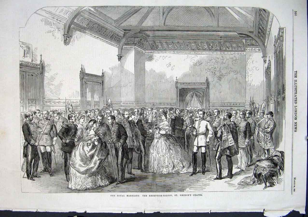 Print Reception Saloon St Georges Chapel 1863 Royal Wedding 60Aaa0 Old Original