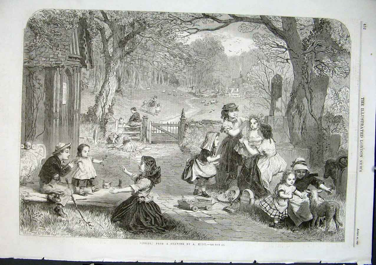 Print Spring By Hunt 1863 Fine Art Children Pla 52Aaa0 Old Original