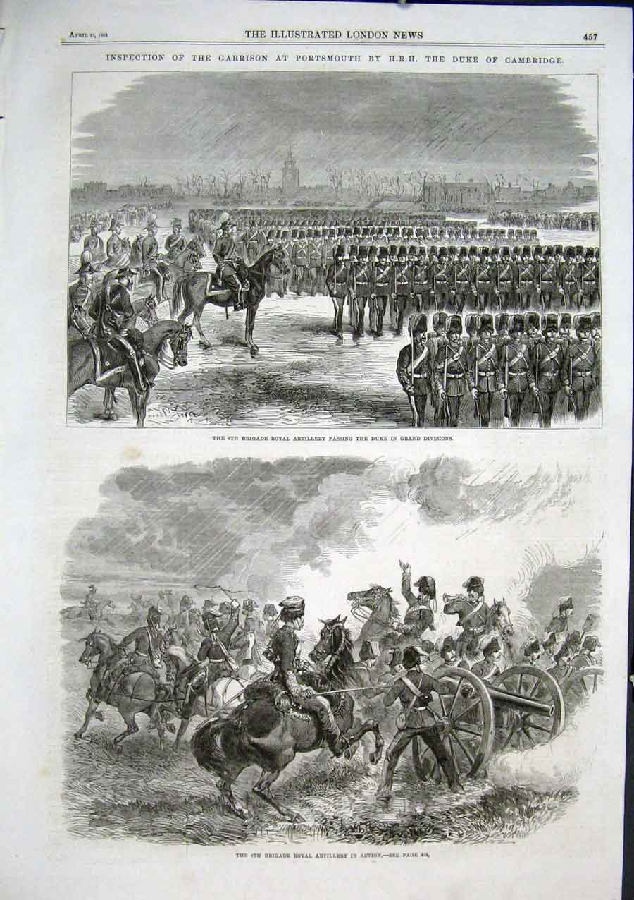 Print Duke Cambridge Inspects Portsmouth Garrision 1863 57Aaa0 Old Original
