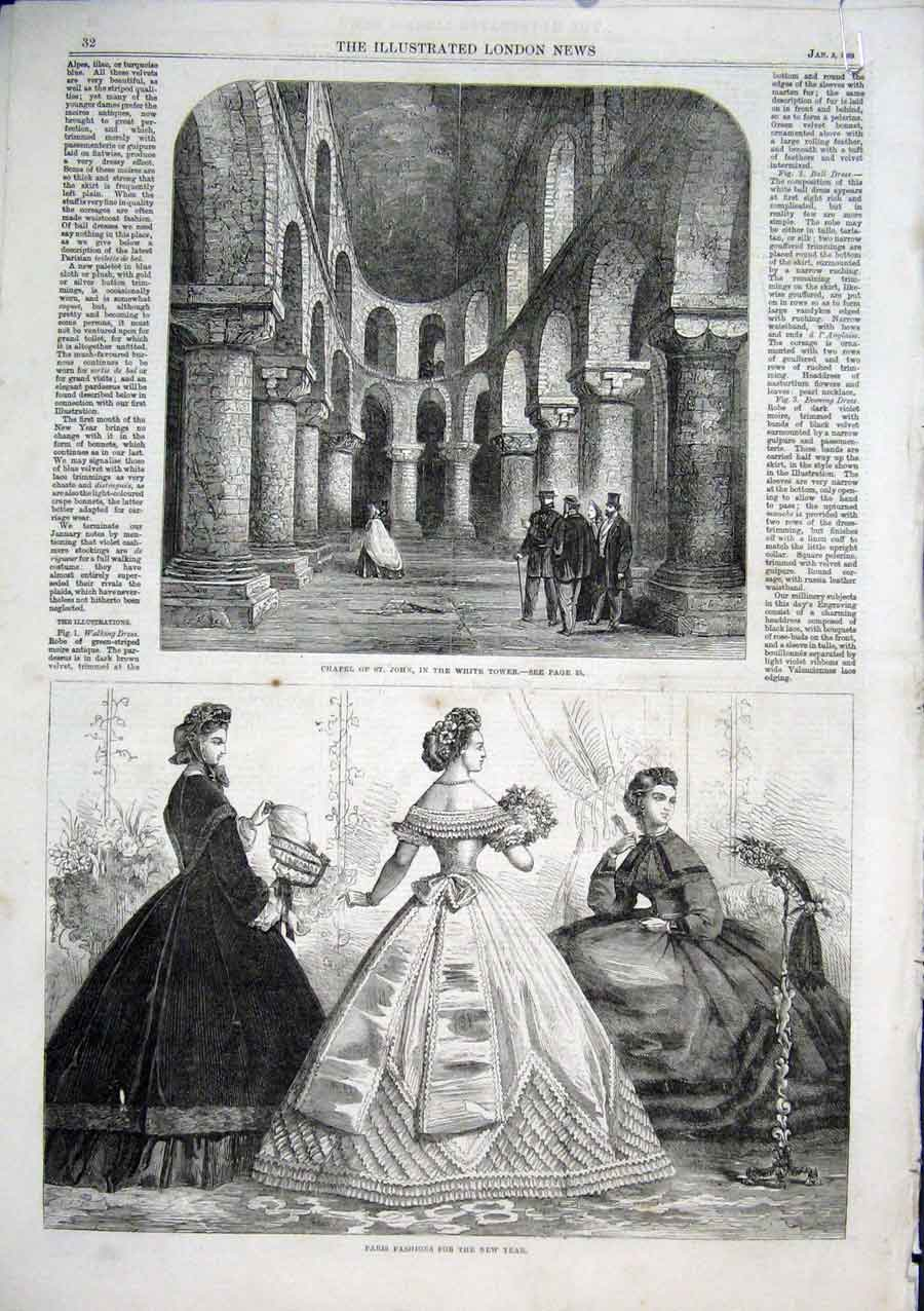 Print Paris Fashions Chapel St John White Tower 1863 81Aaaa0 Old Original