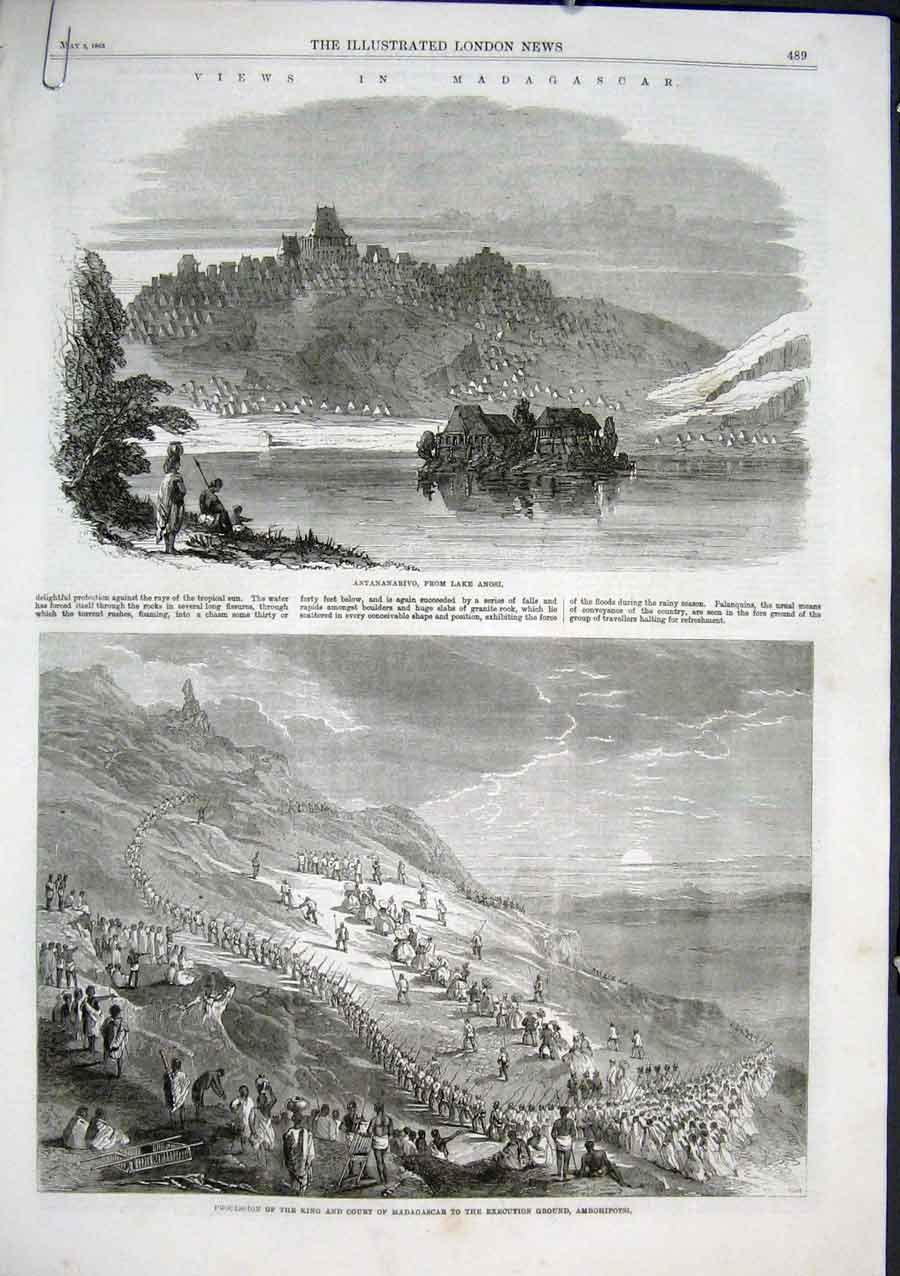 Print Views In Madagascar 1863 Antananarivo 89Aaaa0 Old Original