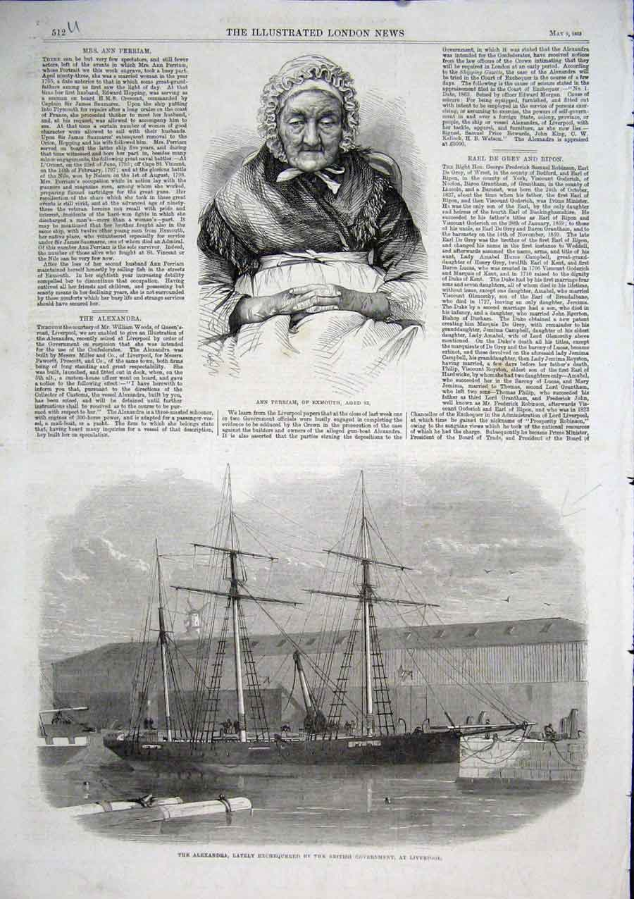 Print Ann Perriam Exmouthage 92 Ship Alexandra At Liverpool 12Aaa0 Old Original