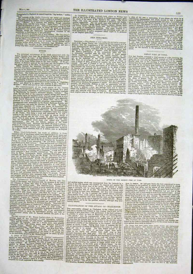 Print Scene 1863 Fire At York Yorkshire 23Aaa0 Old Original