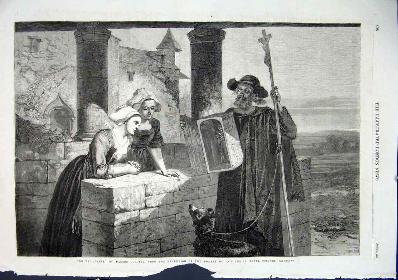 Print Le Reliquaire By Goodall 1863 Fine Art 08Aaa0 Old Original