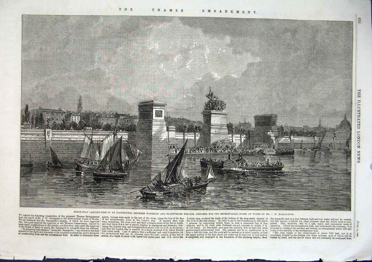Print Pier Between Waterloo & Blackfrirs Doe Stem Boats 1863 36Aaa0 Old Original