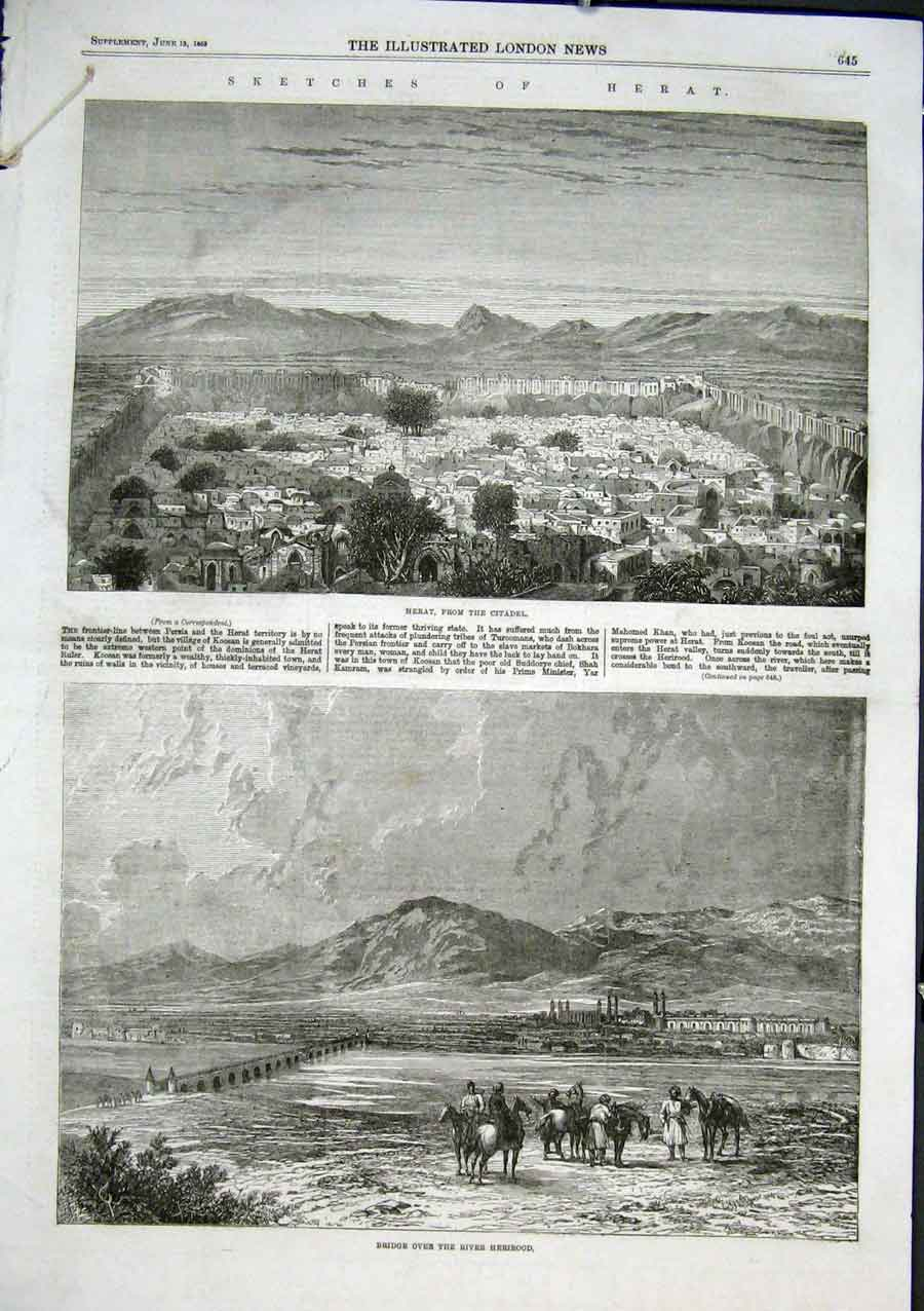 Print Heart & Bridge Over Herirood Persia 1863 45Aaa0 Old Original