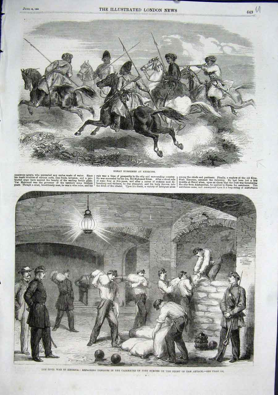 Print Heart Horsemen Persia Fort Sumter Repairs Civil War 18 49Aaa0 Old Original