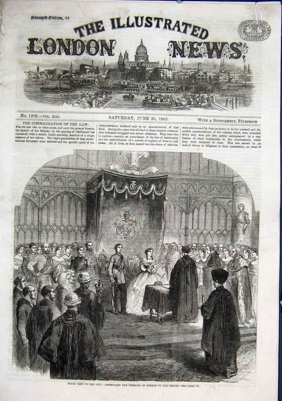 Print State Visit Prince Gets Freedom City 1863 64Aaaa0 Old Original