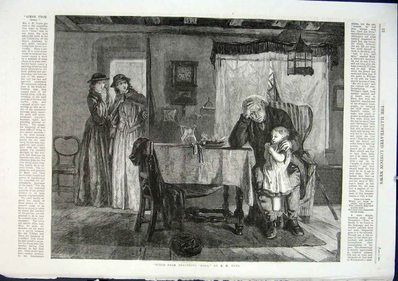 Print Scene From Tennyson'S Dora By Burr 1864 32Aaa0 Old Original