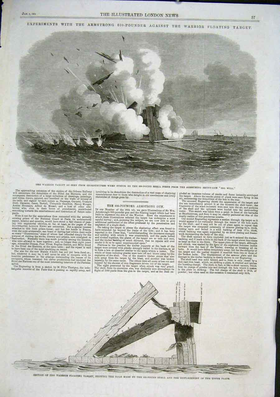 Print Warrior Atarget Struck By 600 Pound Shell 1864 Guns 37Aaa0 Old Original
