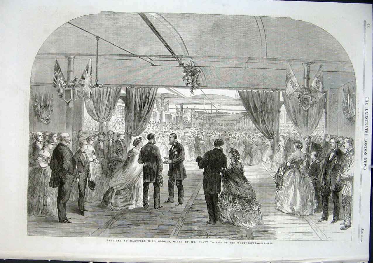 Print 8000 Workforce Guests Hartford Mill Party Oldam 1864 56Aaa0 Old Original
