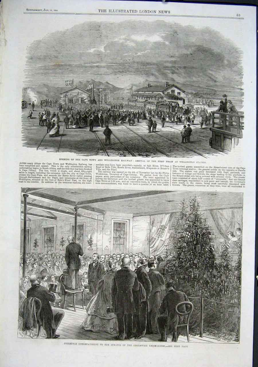 Print Capetown & Wellington Railway S Africa 1864 65Aaa0 Old Original