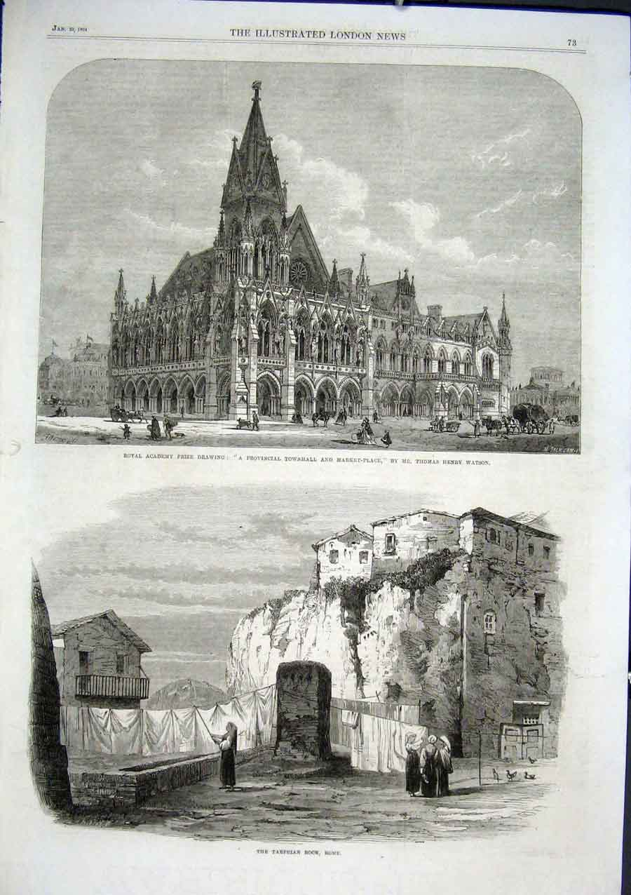 Print The Tarpeian Rock Rome 1864 Italy 73Aaa0 Old Original
