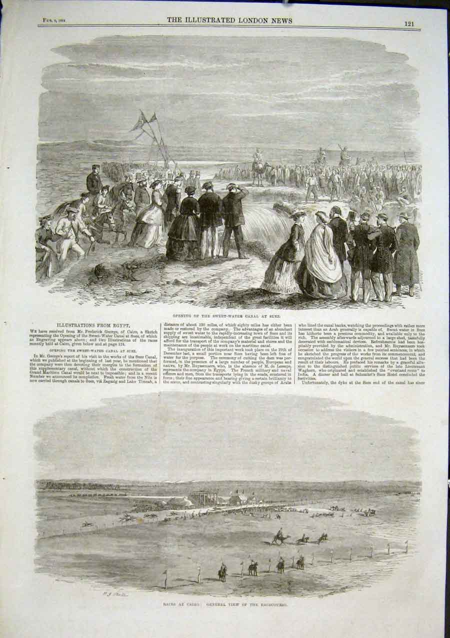 Print Opening Sweet Water Canal Suez 1864 Egypt 21Aaa0 Old Original