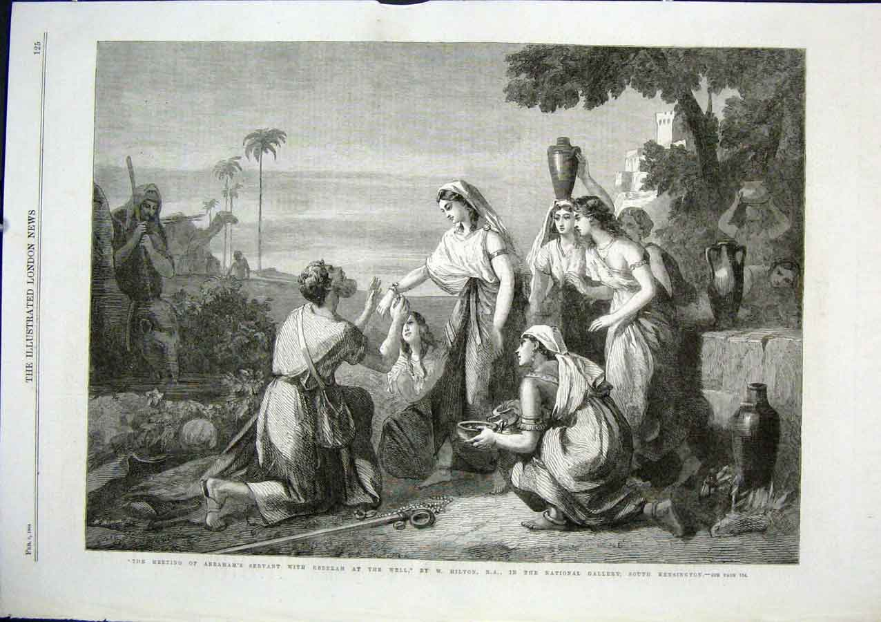 Print Meeting Abraham'S Servant With Rebecca At Well By Hilto 25Aaa0 Old Original