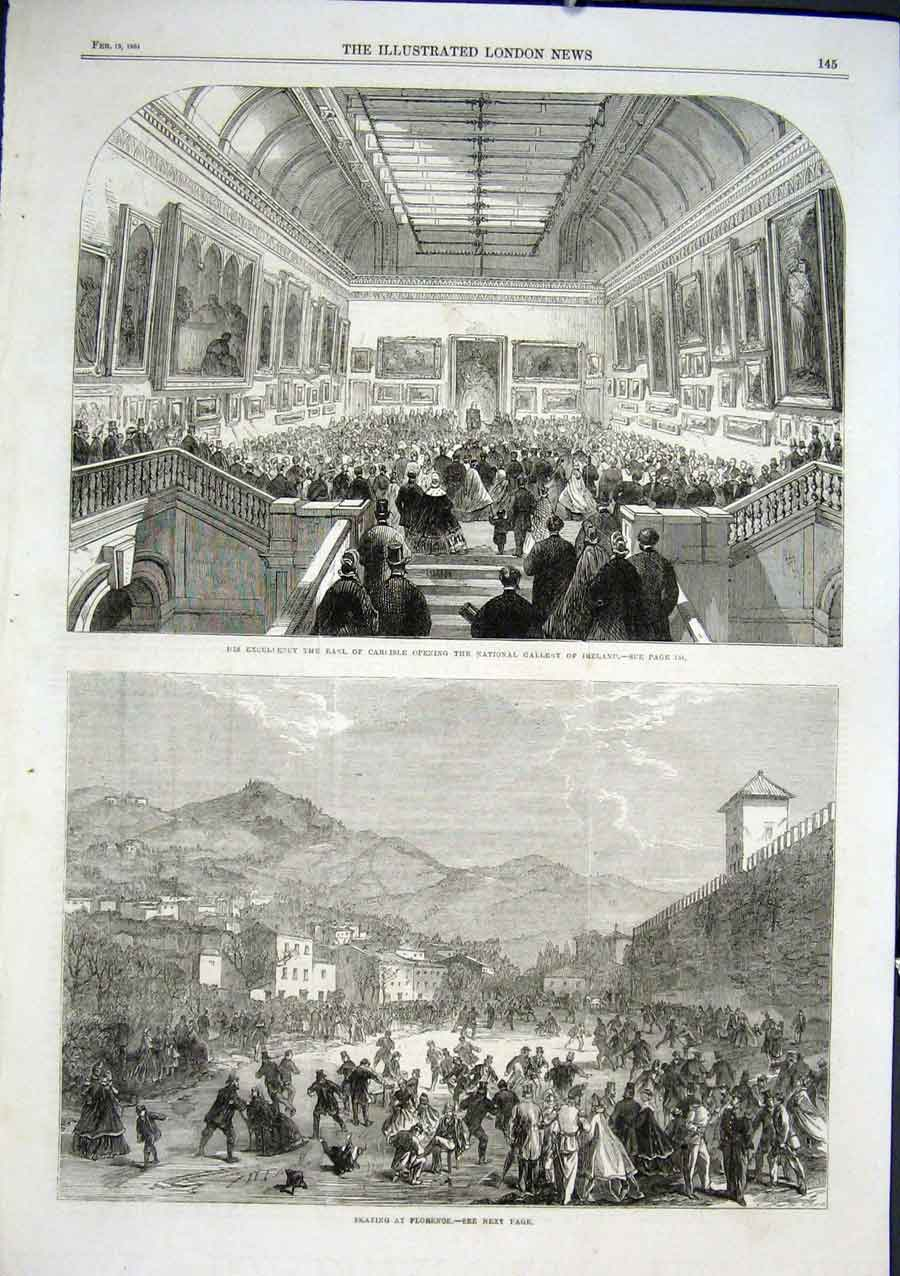 Print Skating Florence Italy 1864 National Gallery Ireland 45Aaa0 Old Original