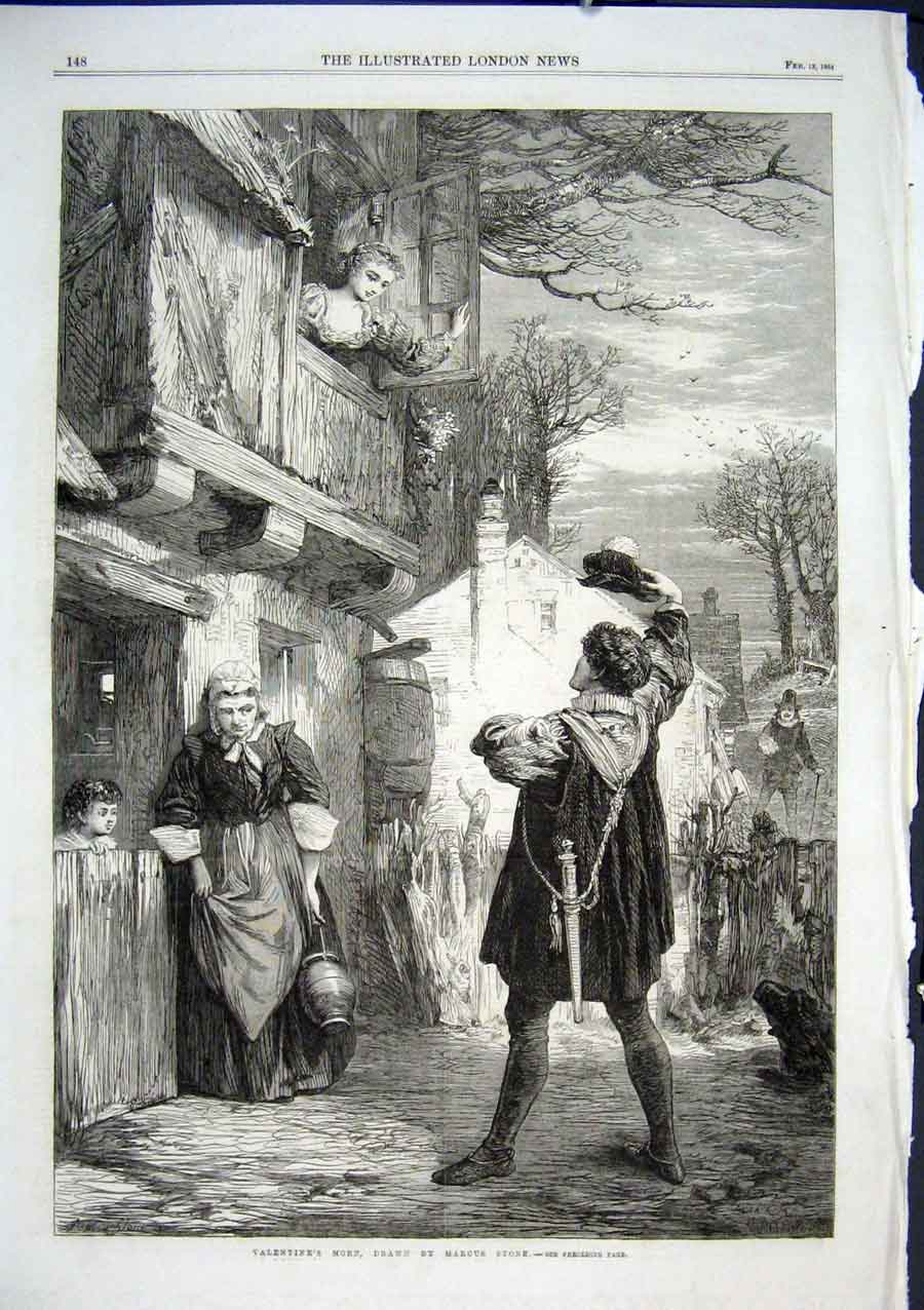 Print Valentine Morning By Stone 1864 Fine Art 48Aaa0 Old Original