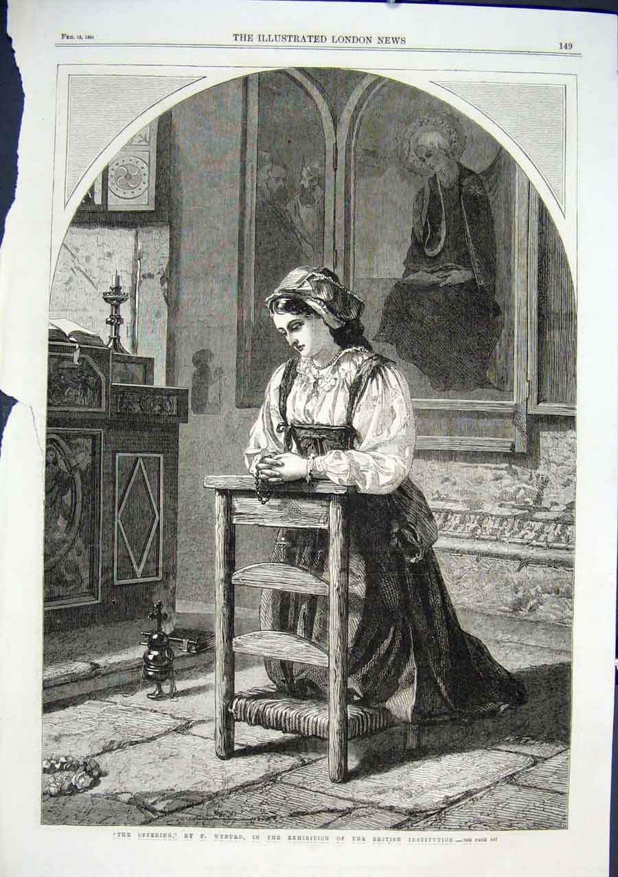 Print The Offering By Wyburd 1864 Fine Art 49Aaa0 Old Original