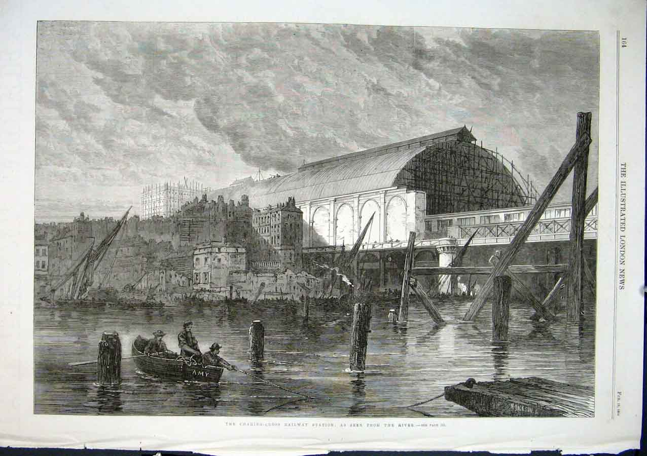 Print Charing Cross Railway Station From The River 1864 64Aaa0 Old Original