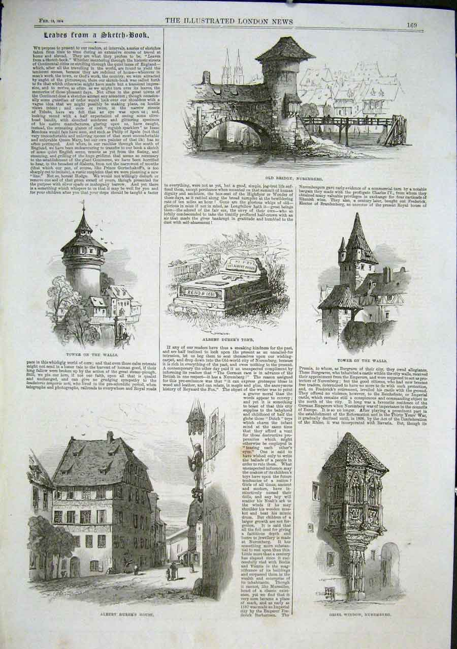 Print Sketches Nuremberg 1864 Germany 69Aaa0 Old Original
