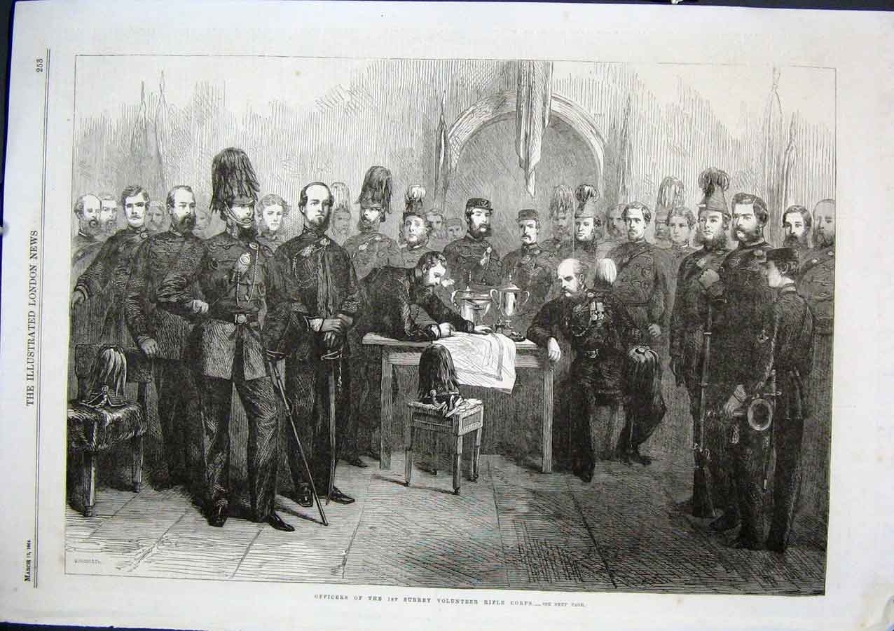 Print Officers 1St Surrey Rifle Corps 1864 53Aaa0 Old Original