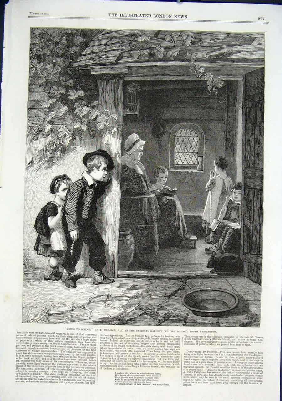 Print Going To School By Webster 1864 Fine Art 77Aaa0 Old Original