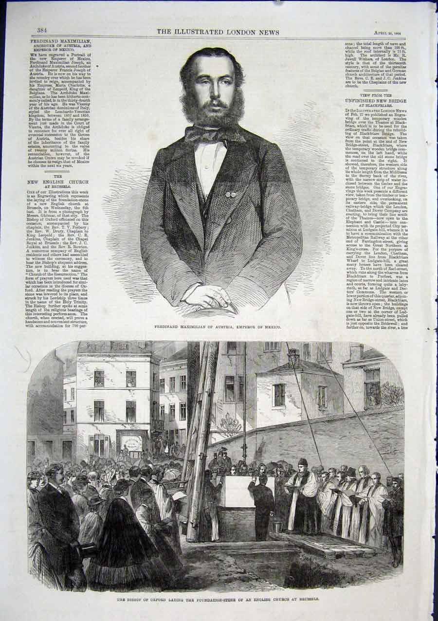 Print English Chruch Brussels Ferdinand Emperor Mexico 1864 84Aaa0 Old Original
