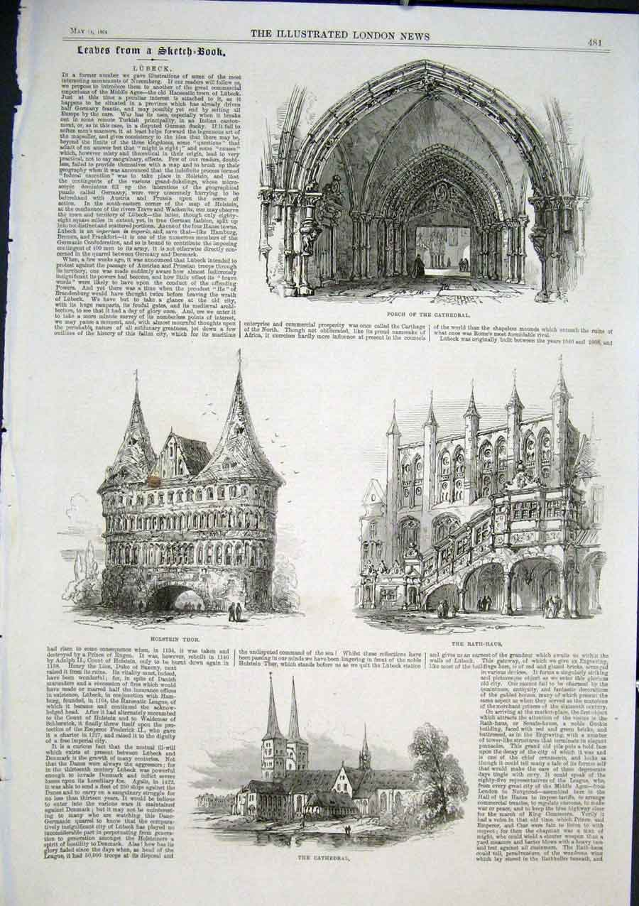 Print Sketches Lubeck 1864 Germany 81Aaa0 Old Original