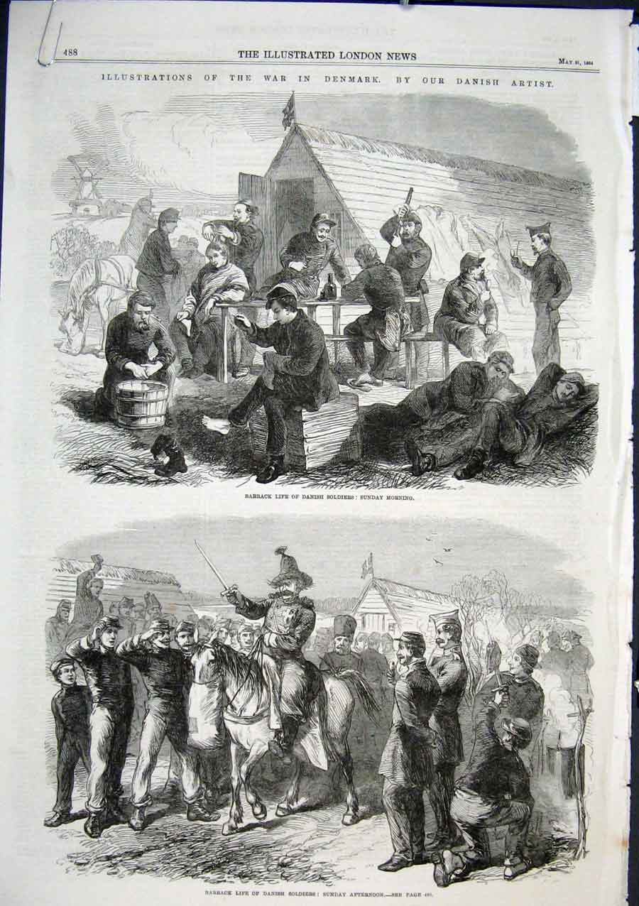 Print Illustrations War In Denmark 1864 88Aaaa0 Old Original