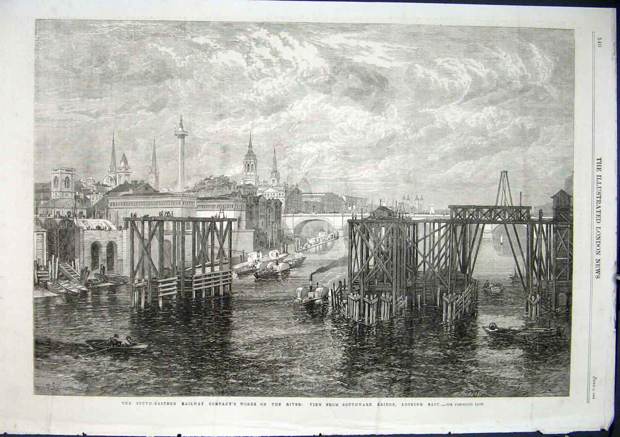 Print South East Railway Works On Thames 1864 40Aaa0 Old Original