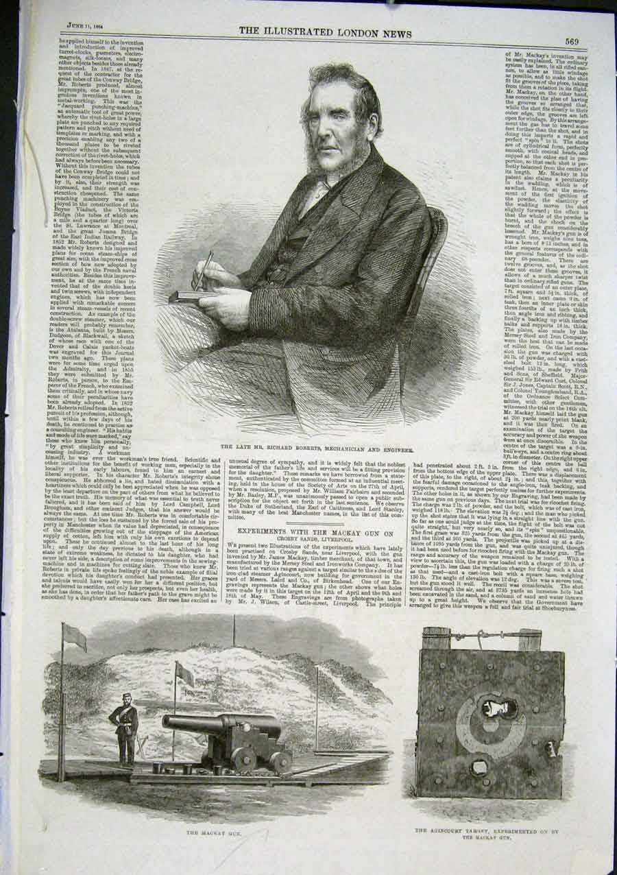 Print Mackay Gun 1864 & Portrait Richard Roberts 69Aaa0 Old Original