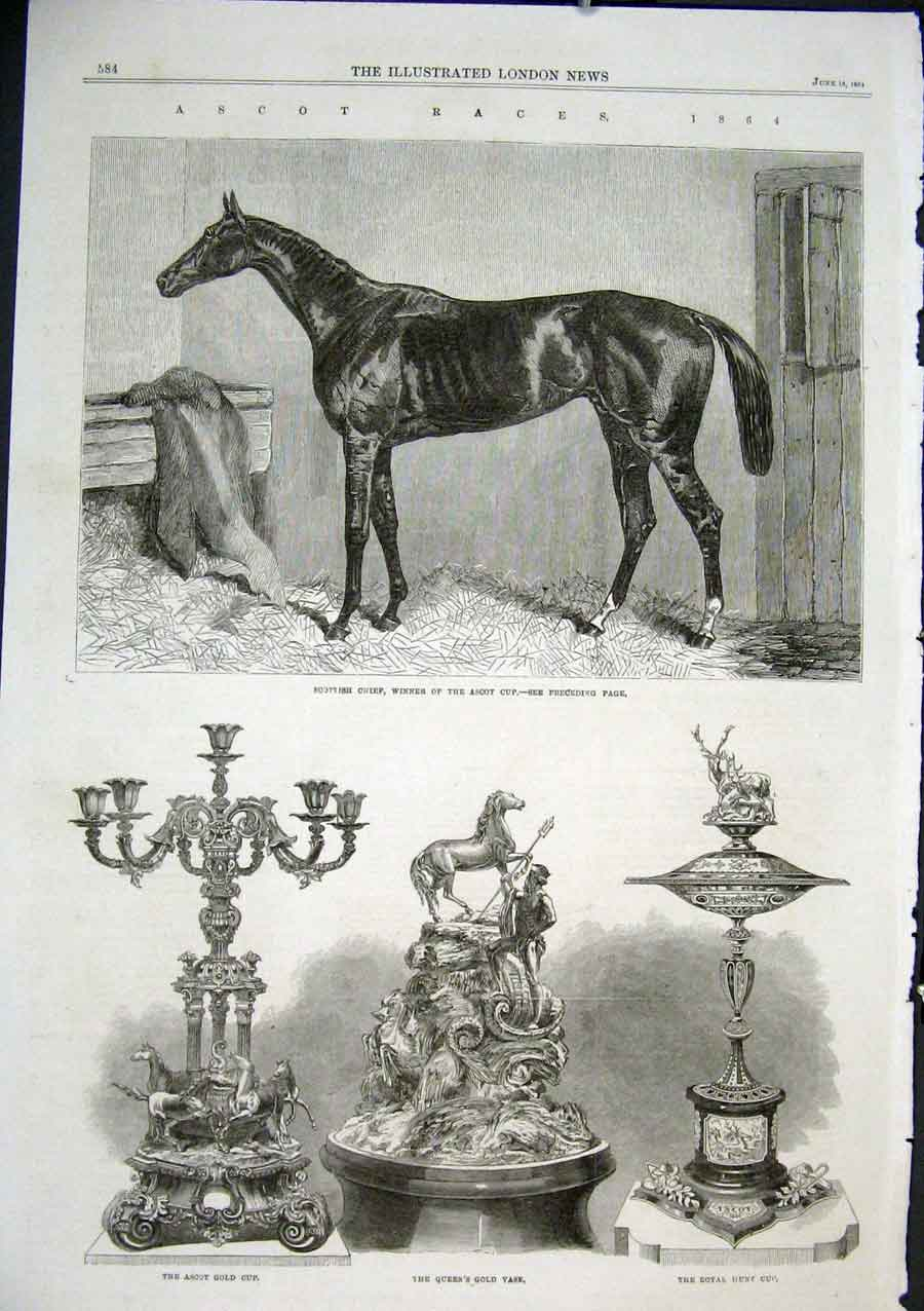 Print Scottish Chief Winner Ascot Cup 1864 Horses 84Aaa0 Old Original
