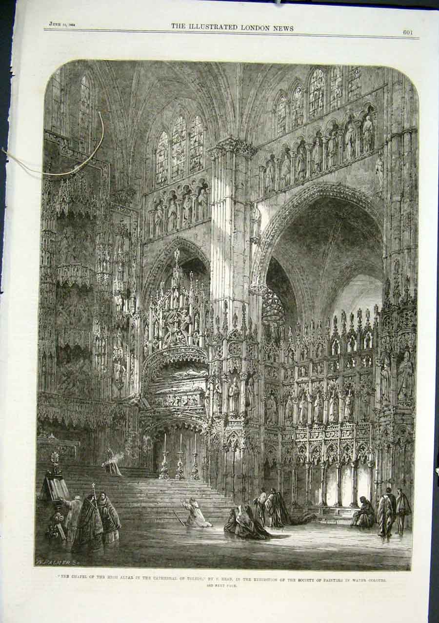 Print Chapel High Altar Toledo Cathedral Spain 1864 01Aaa0 Old Original