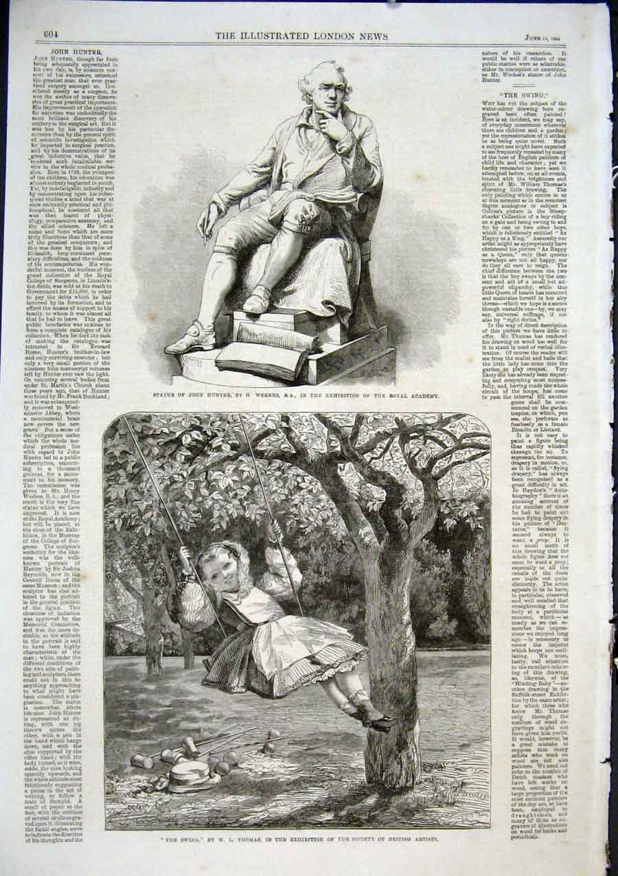 Print Girl In Swing By Thomas 1864 Fine Art 04Aaa0 Old Original