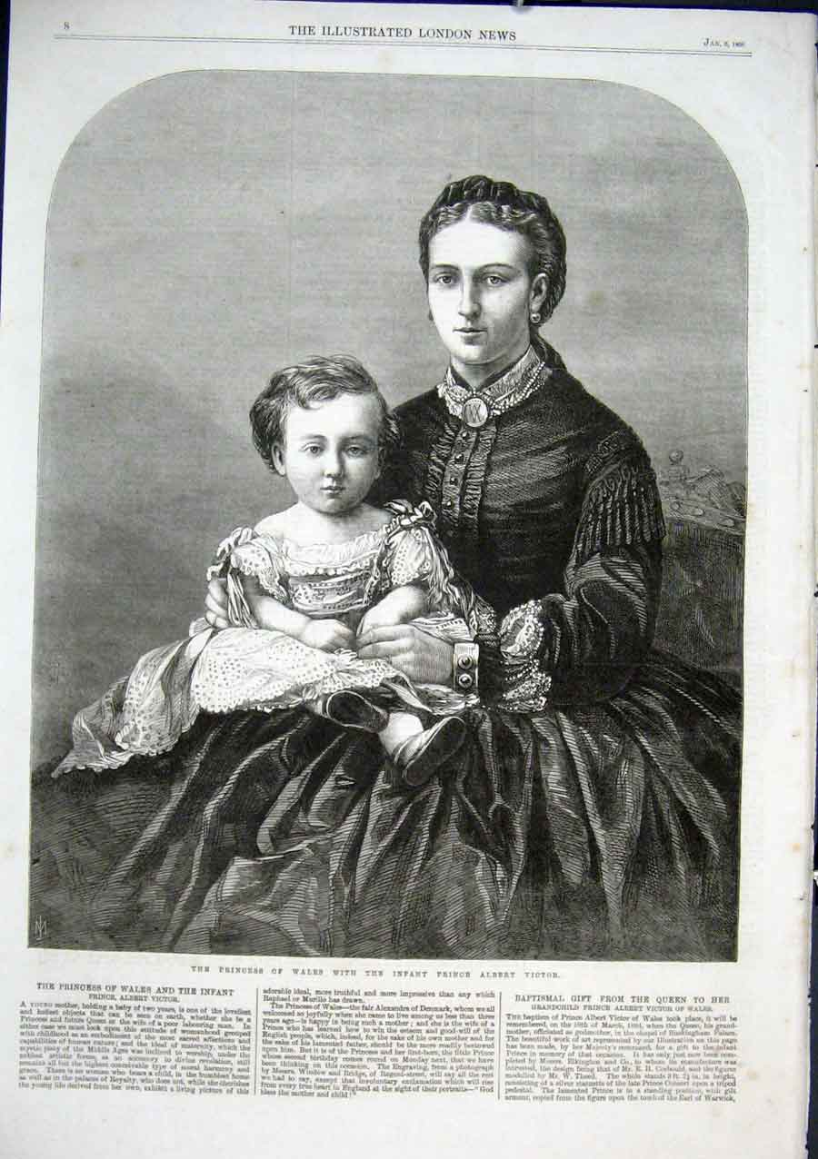 Print Princess Wales With Prince Albert Victor 1866 08Aaa0 Old Original