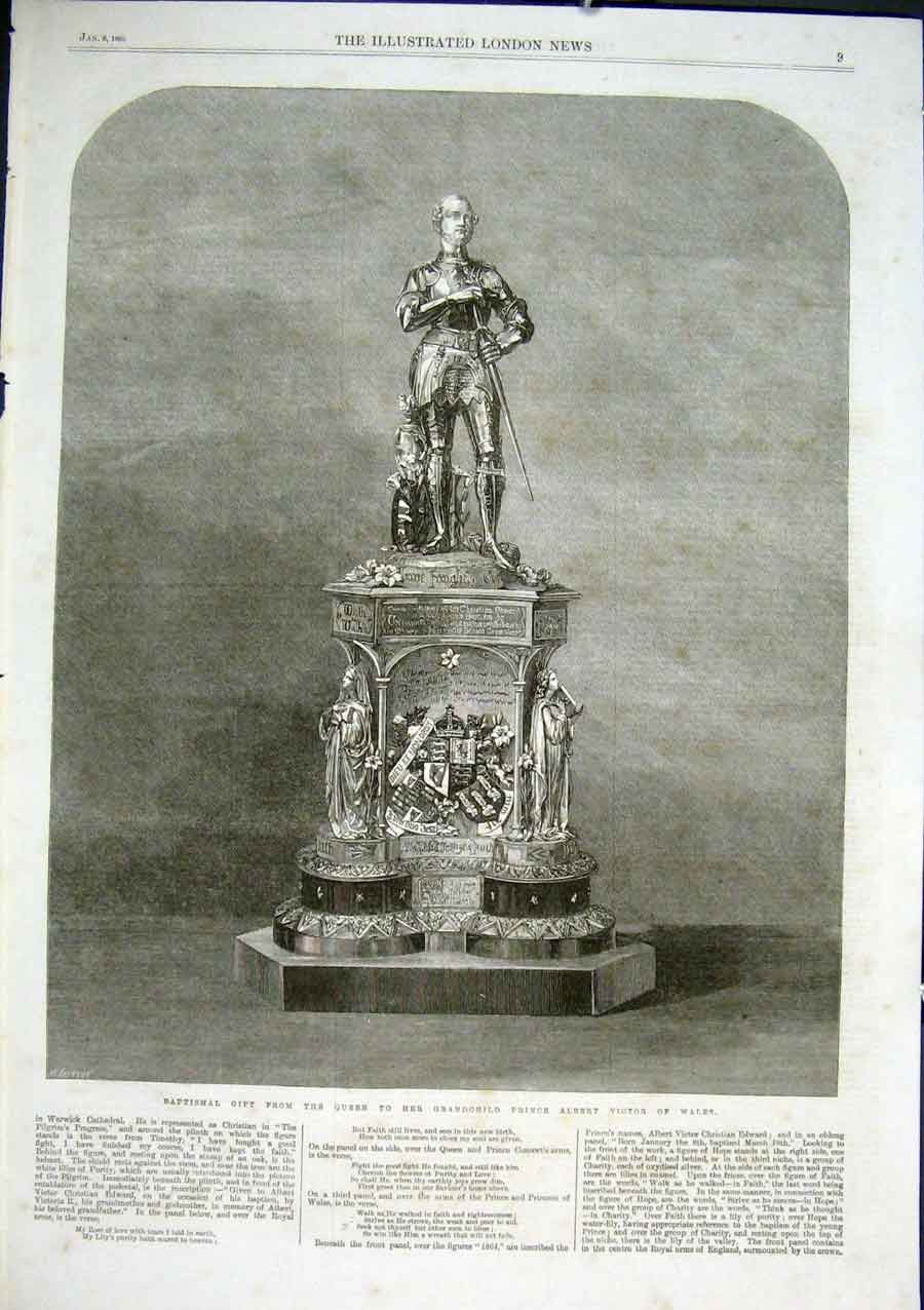 Print Baptismal Gift From Queen To Prince Albert Victor 1866 09Aaa0 Old Original