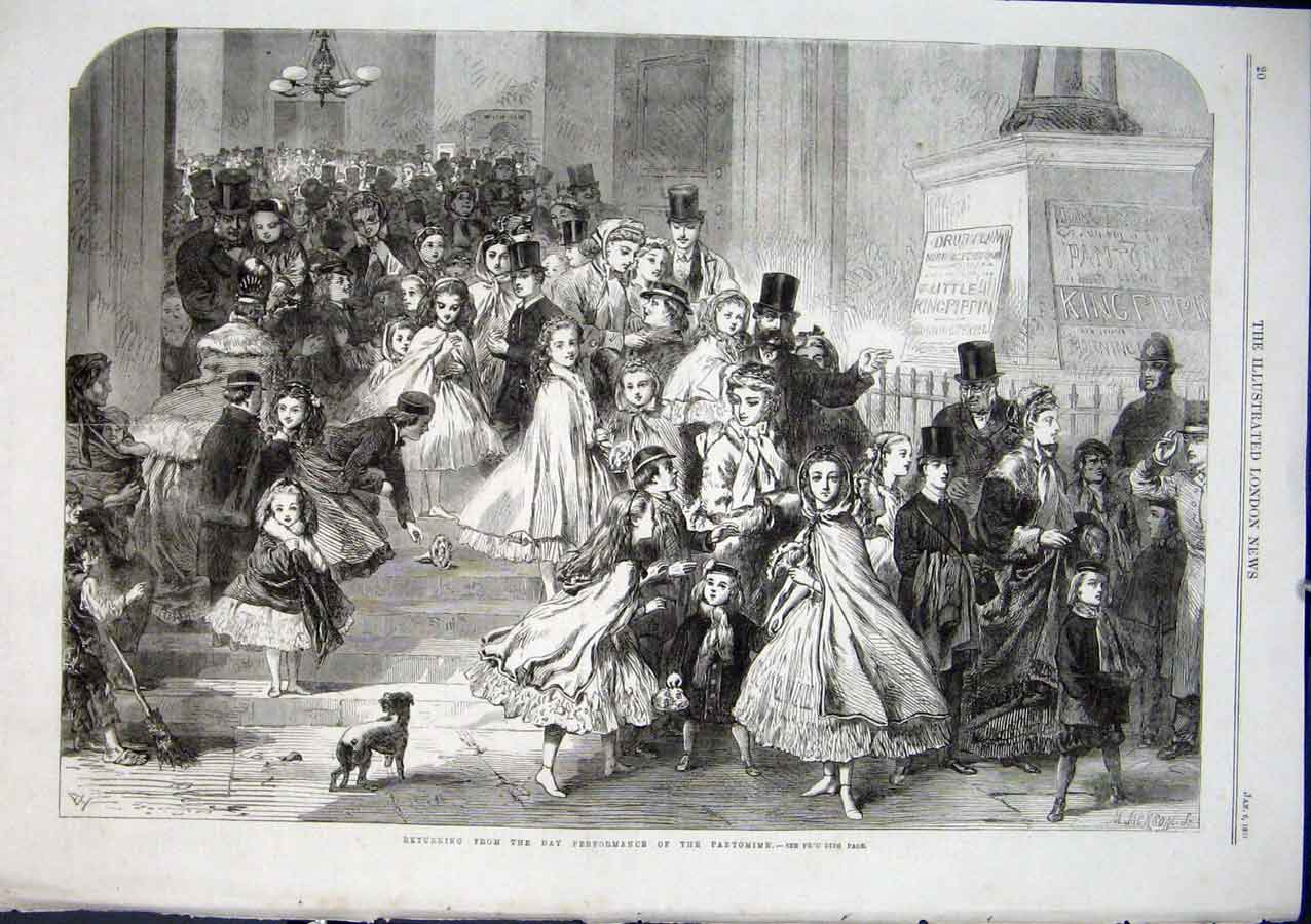 Print End A Pantomime 1866 Off Home Again 20Aaa0 Old Original